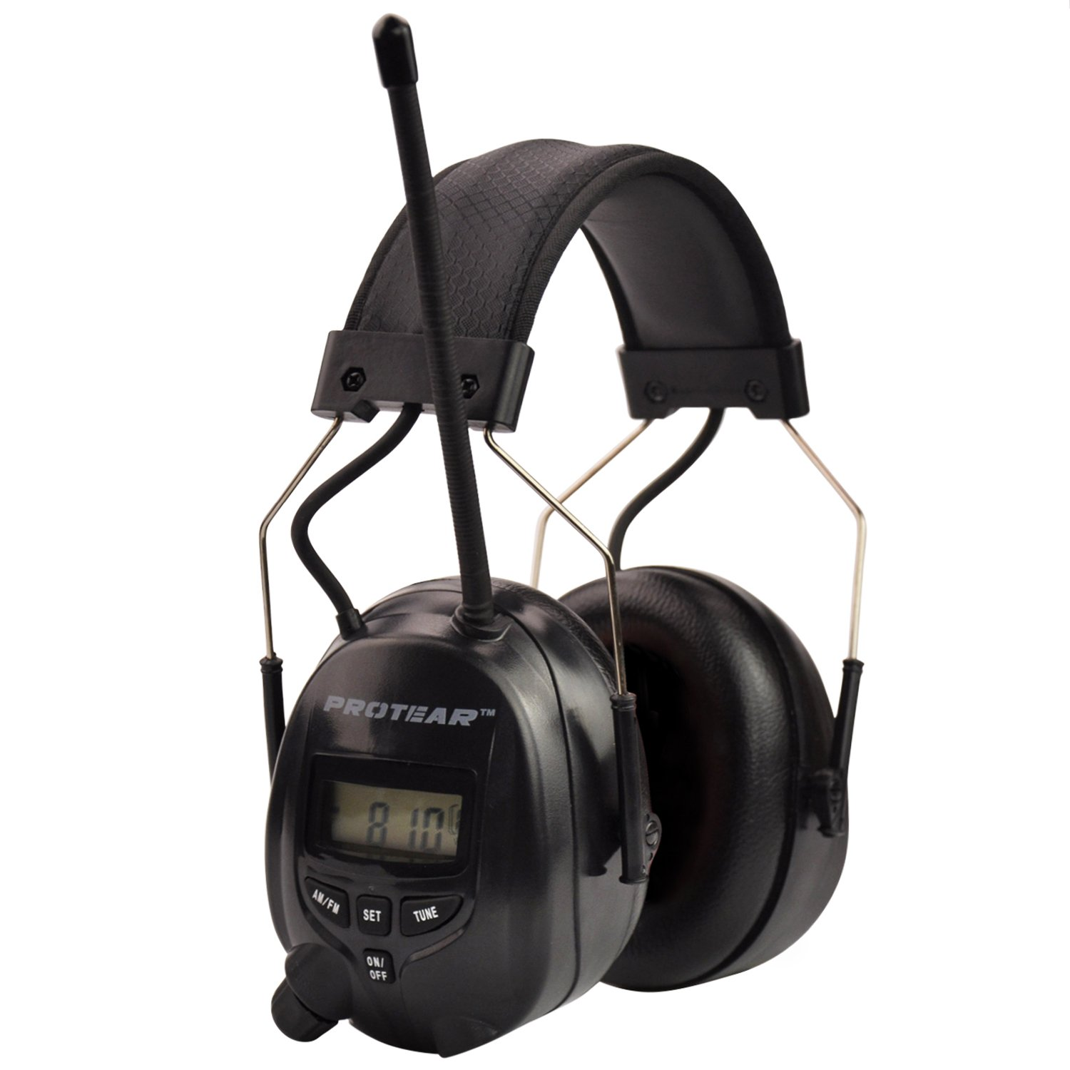 Protear Radio Headphones Hearing Protector Safety Earmuffs AM/FM Electronic Noise Reduction Rate 25dB for Mowing Working-Black