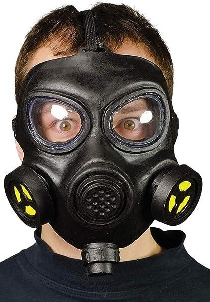 Mens Adult WW2 Black Gas Mask Halloween Fancy Dress Costume Accessory