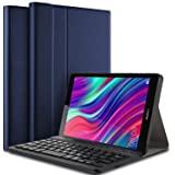 【PCATEC】HUAWEI MediaPad M5 lite 8インチ用 超薄レザーケース付き Bluetooth キーボードUS配列 かな入力 JDN2-L09/JDN2-W09対応 (MediaPad M5 lite 8, ネイビーブルー)