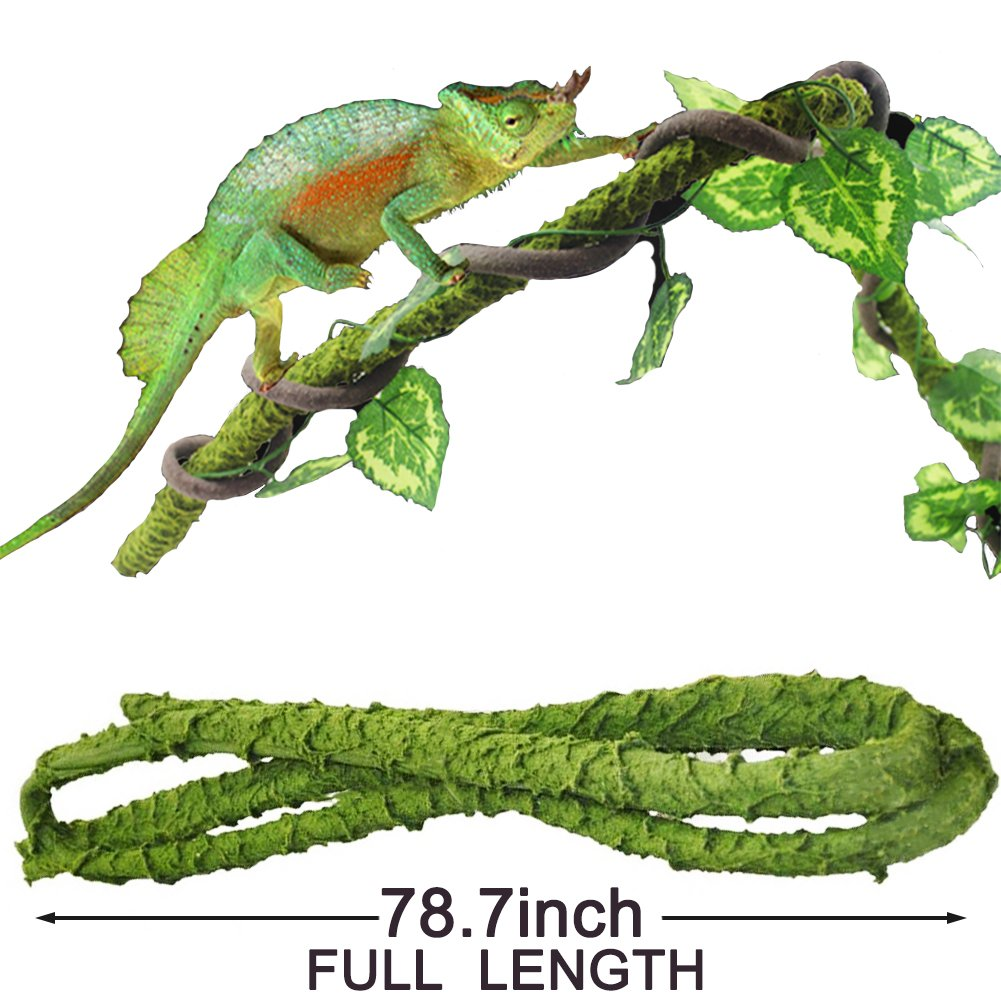 Mokook Jungle Vines Decor for Lizards, Frogs, Snakes and More Reptiles, Aseptic and Adjustable Design, 6.56 Feet Full Length by Mokook