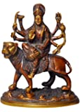 ELITE Brass Statue / Idol Of Mata Sherawali / Durga Maa for Blessing , Happiness , Health , Wealth at Home & Office , Handcrafted with Antique Look/ Diwali Gift Product Dimensions (LxBxH - 5 x 3.75 x 6.5) Inches, Weight - 1000 Gms By Crafthut