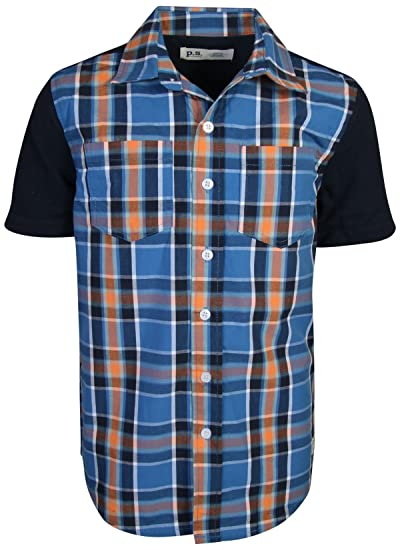 67b49bc29f Amazon.com: p.s. from aeropostale Boys Short Sleeve Button Down Woven  Shirt: Clothing