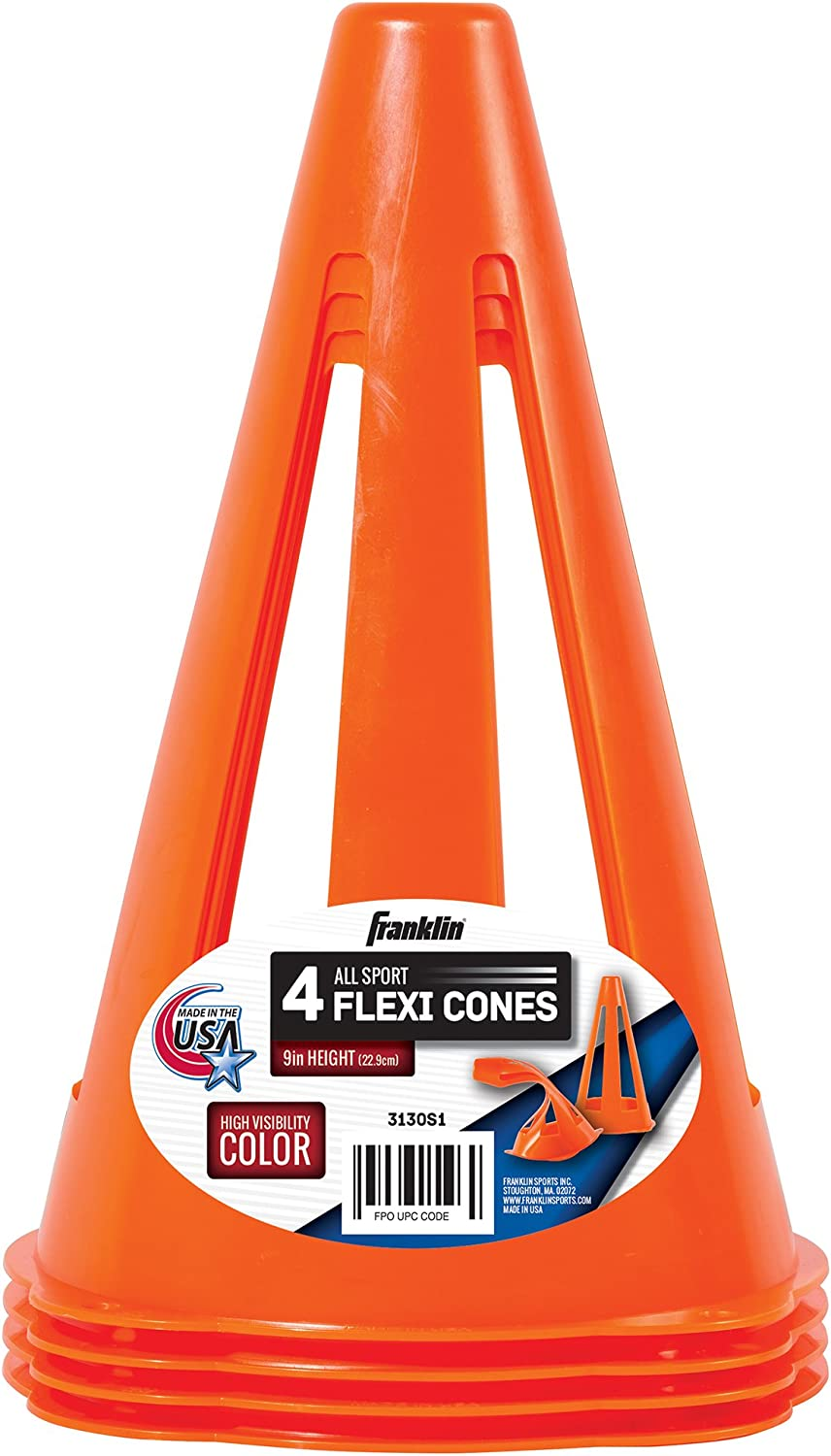 """Franklin Sports 9"""" Flexible Soccer Cones- 4 Pack: Sports & Outdoors"""