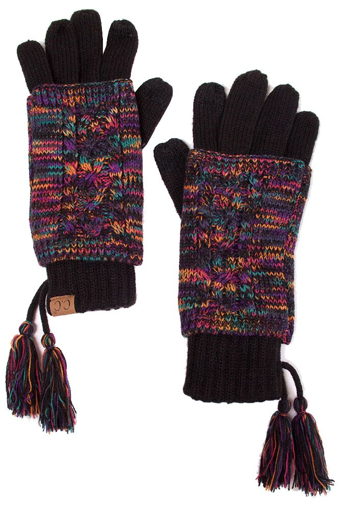 ScarvesMe CC Two Tone Double Layer Gloves with Tassel (Multi)