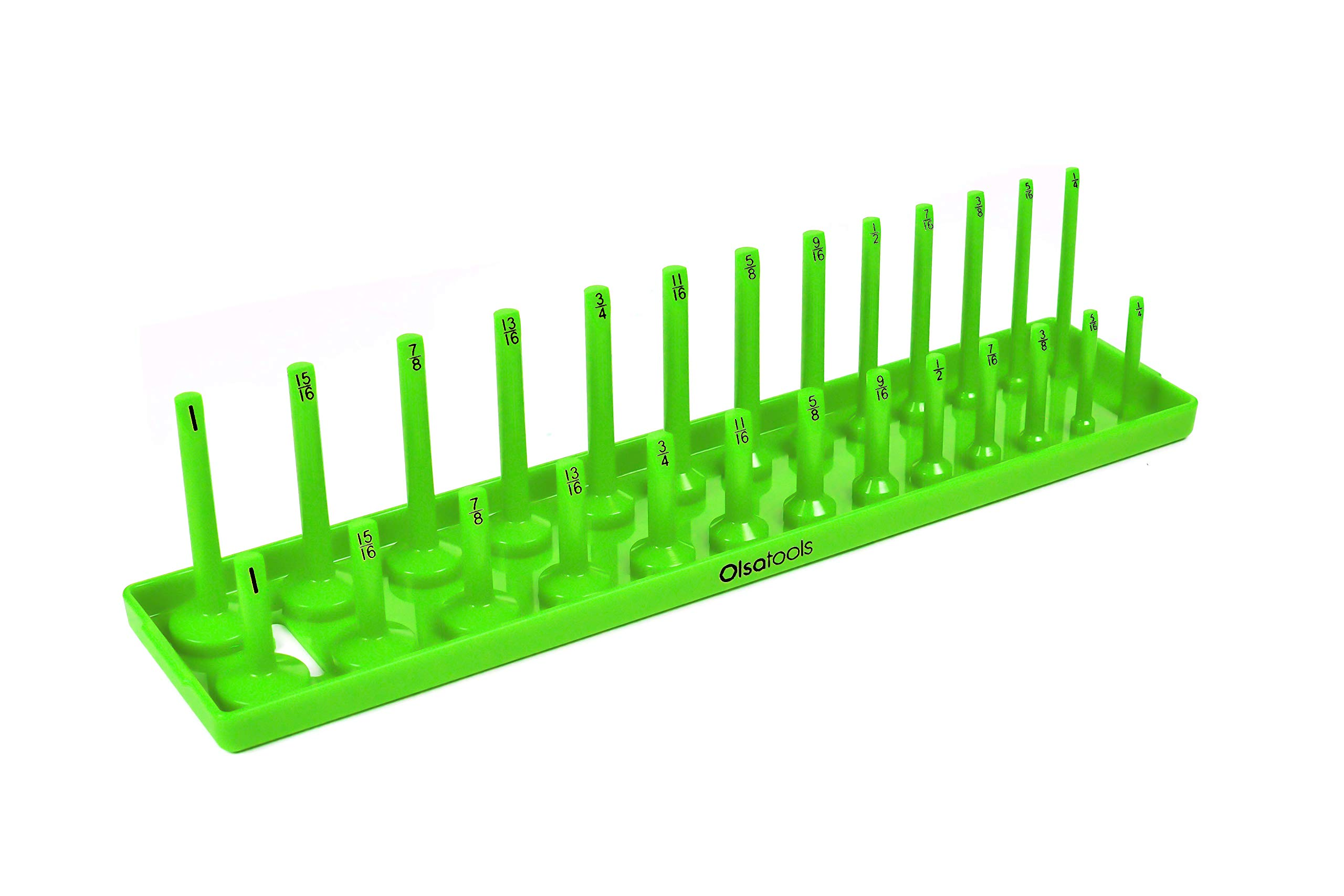 Olsa Tools   3/8-Inch Drive Socket Organizer Tray   Green SAE Socket Holder   Premium Quality Tool Organizer