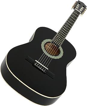 NAVARRA NV12 Guitarra clásica 4/4 negro con bordes crema incl ...