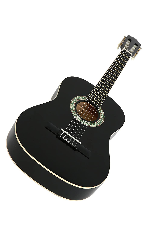 NAVARRA NV12 Guitarra clásica 4/4 negro con bordes crema incl. funda ...