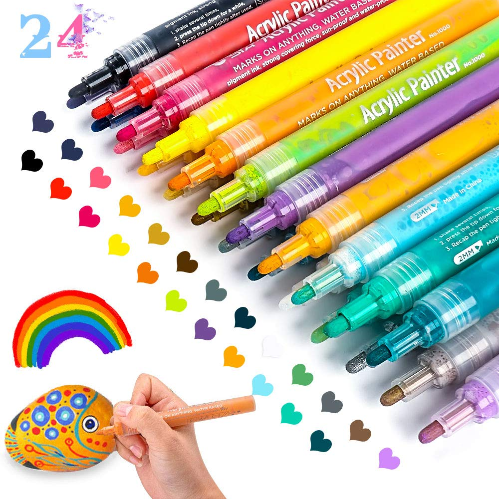 Acrylic Paint Marker Pens, Paint Pens for Rocks Painting, Wood, Fabric, Plastic, Canvas, Glass, Mugs, DIY Craft, Card Making, Art School Supplies. Water Based Acrylic Paint Markers Set of 24 Colors by JR.WHITE