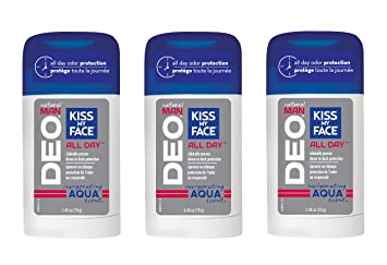 Kiss My Face Signature Bundles - Natural Man Aluminum Free Deodorant, Aqua,  7 44 oz, 3 count