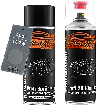 Tristarcolor Autolack 2k Spraydosen Set Für Audi Ld7w Urban Grey Metallic Silverstone Urban Grey Metallic Basislack 2 Komponenten Klarlack Sprühdose Auto