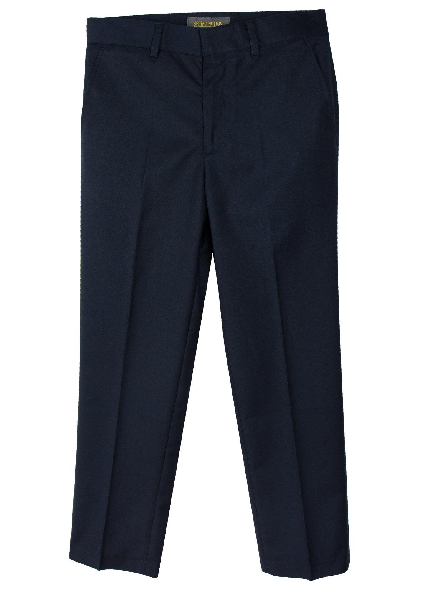 Spring Notion Boys' Flat Front Dress Pants 2T Navy