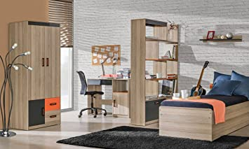 Jugendzimmer Komplett   Set E Marcel, 5 Teilig, Farbe: Esche Orange /