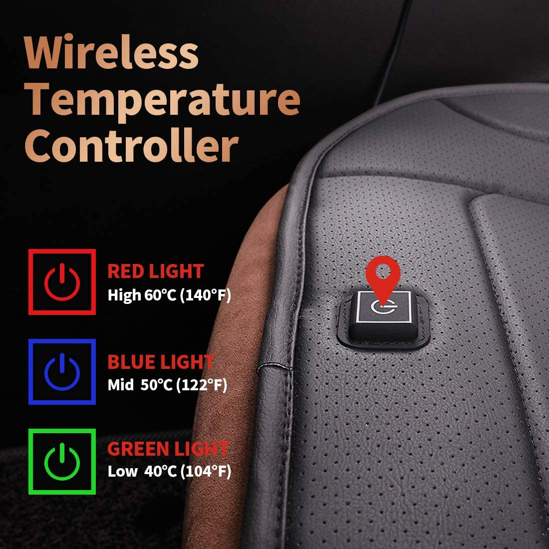 TISHIJIE Heated Car Seat Cushion with Wireless Intelligence Temperature Controller Car Seat 12V, Black Automatic Power On//Off Office Chair and Home Universal
