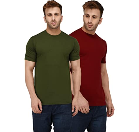 6a4326fc London Hills Solid Men Half Sleeve Round Neck Olive Green and Rust Red T- Shirt