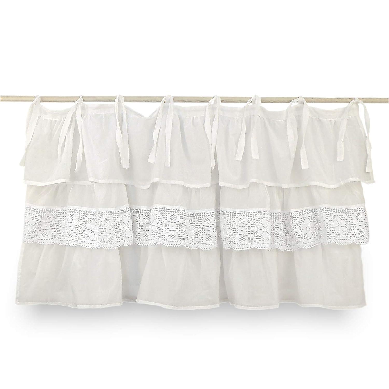 AT17 Mantovana Shabby Chic con balze Etoile New Crochet Collection 130 x 60 cm Colore Off-White Crochet Bianco