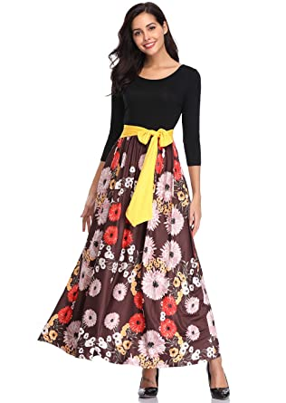 991e0c85f5b kefirlily Womens 3 4 Sleeve Striped Floral Print Patchwork Tie Waist Maxi  Dress with Pockets