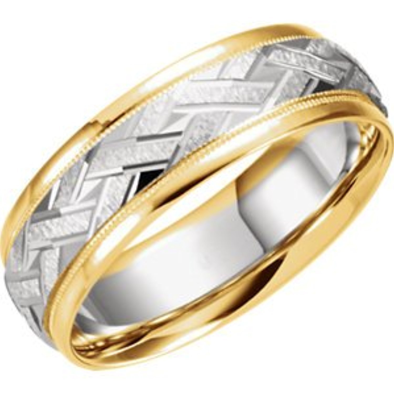 7mm High Polish Faceted Diamond Cut Comfort Fit Band Ring 14K Yellow Gold