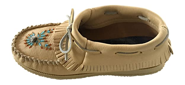 Amazon.com | Bastien Industries Womens Natural Tan Moose Hide Leather Beaded Moccasins Shoes | Loafers & Slip-Ons