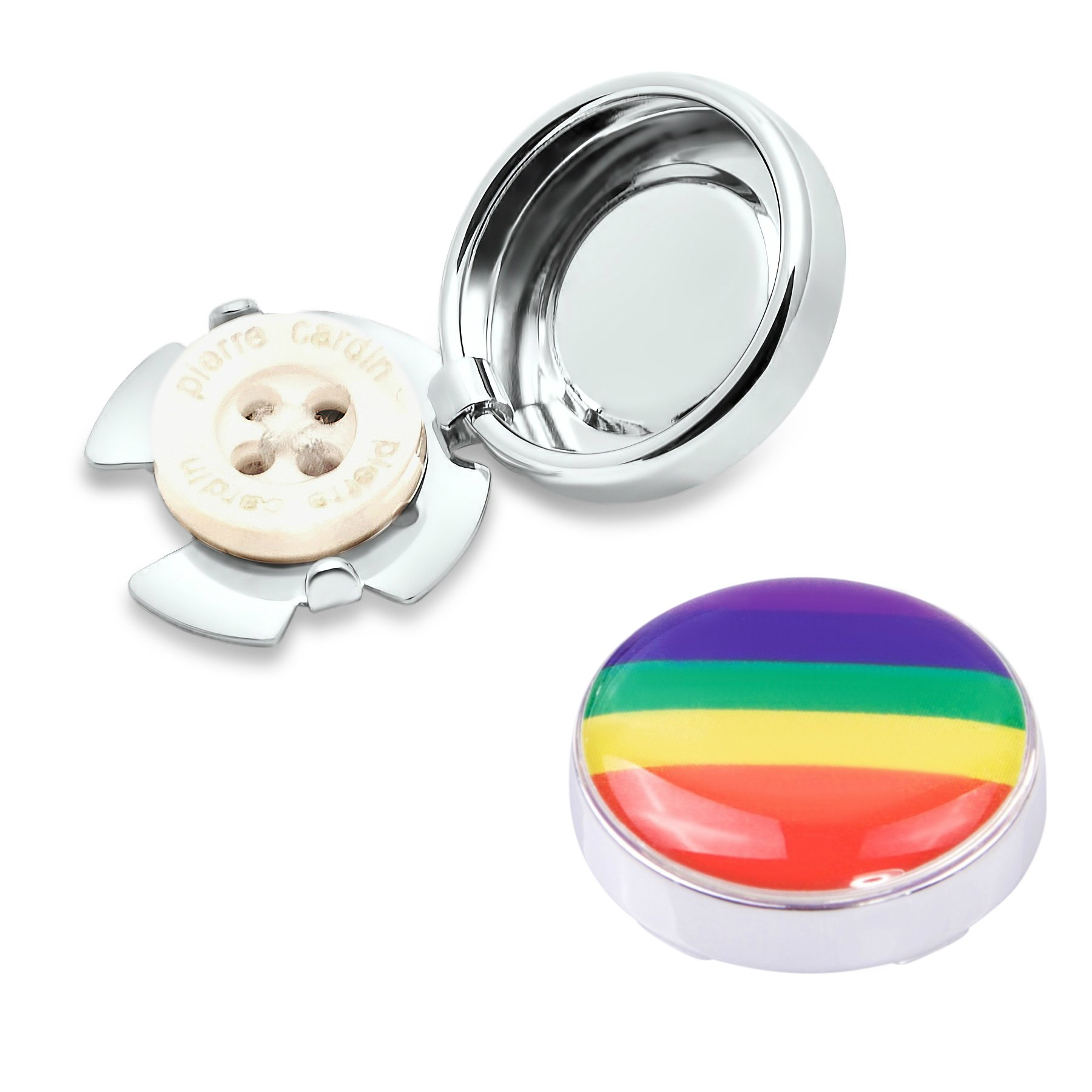 Rainbow LGBT+ Button Covers - Cuff Link Alternative for Shirts, Cuffs and Collars (CS-rain US)