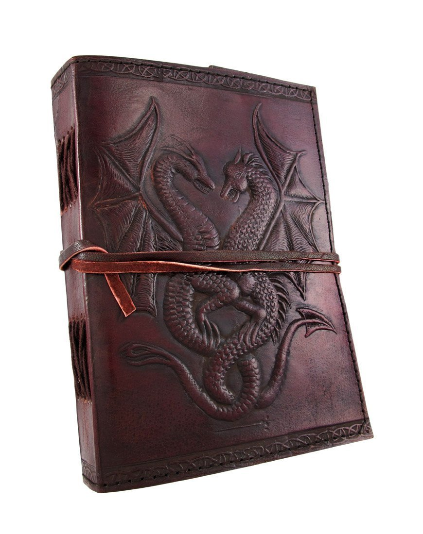 Handmade Vintage Antique Looking Genuine Double Dragon Leather Bound Journal Diary Notebook Travel book with blank Unlined pages to write for Men Women Gift for him her