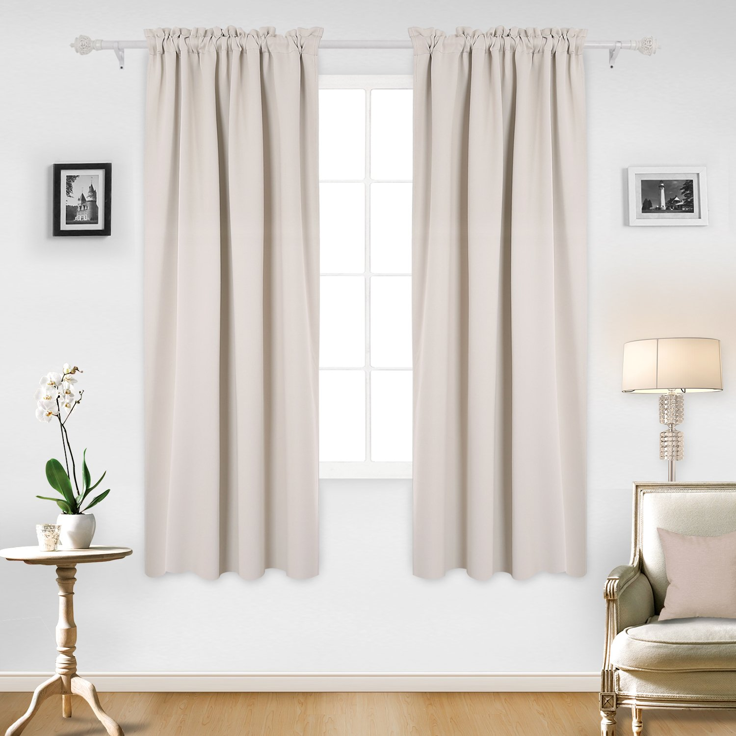 Deconovo Fashionable Rod Pocket Blackout Curtains Room Darkening Curtains Window Treatments Shade Curtains for Office 52W x 72L Inch Light Beige Set of 2