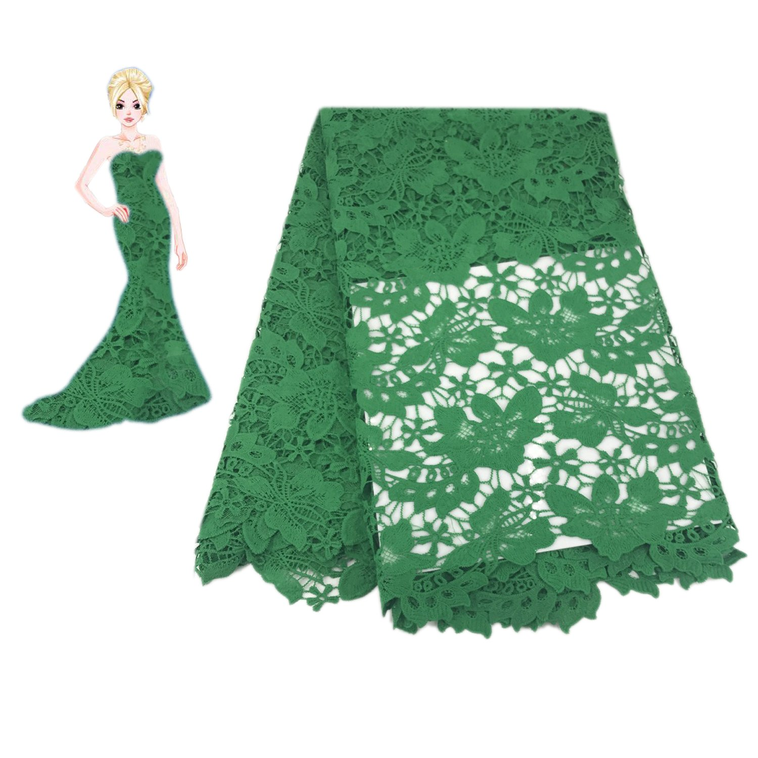 KENLACE 5Yards African Guipure Lace Fabric for Sewing Best Selling African Cord Lace Fabric to Make Dresses Skirts for Wedding Party (Green) by KENLACE