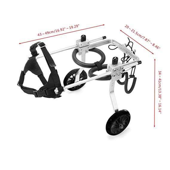 Amazon.com : Anmas Sport Adjustable Dog Pet Wheelchair, Hind Legs Rehabilitation (L-Hip Height: 13