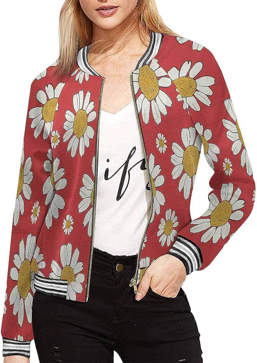 INTERESTPRINT Womens White Daisies Flowers on Red Background Baseball Jacket Coat