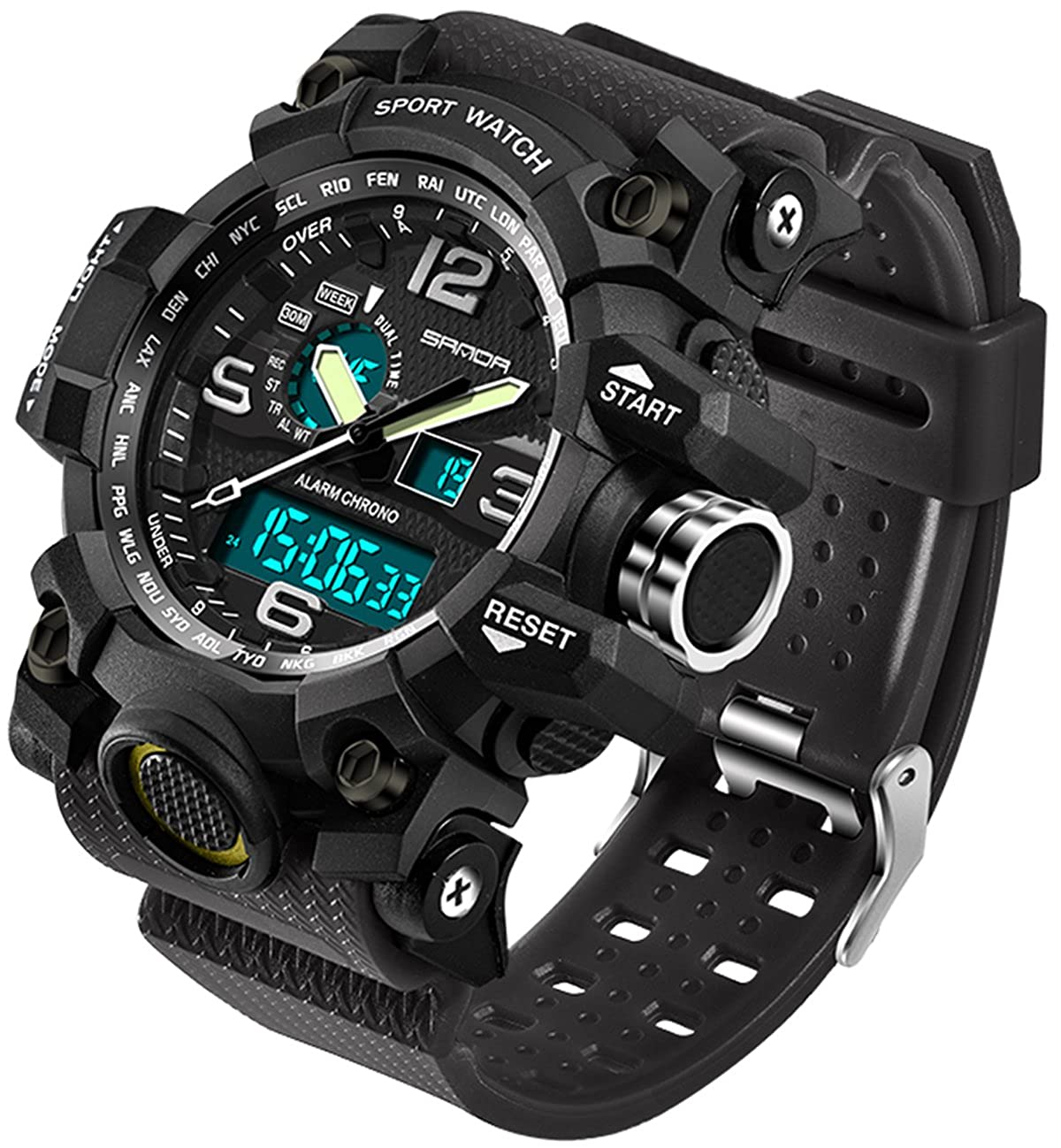 Relojes de Hombre Deportes Militares Electrónico Impermeable LED Cronómetro Digital Analógico Doble Pantalla Exterior Ejército Muñequera Reloj Táctico