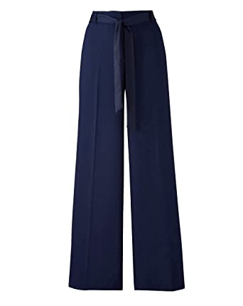 1abfc0fcef Simply Be Womens Wide Leg Crepe Tie Waist Trouser Navy Blue, 20 ...