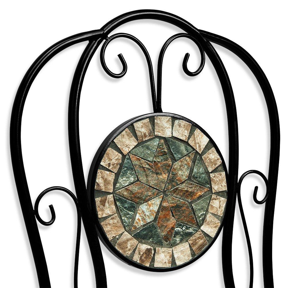 Deuba Conjunto de muebles de jardín Mosaico MALAGA set de mesa y sillas plegables terraza patio metal diseño moderno: Amazon.es: Hogar