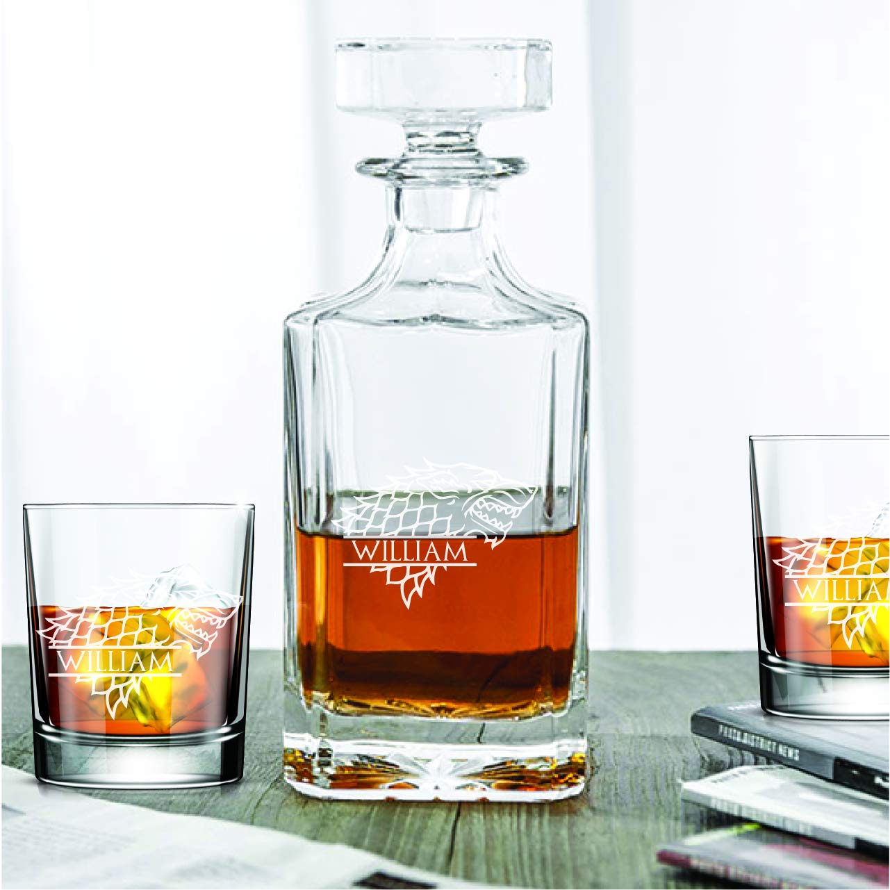 Personalized Classic Whiskey Decanter Gift Set - House Stark Game of Thrones - Decanter and 10oz Rocks Glasses - 3PCS