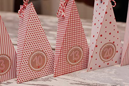 24 cajas DIY rojo DELL calendario de adviento para llenar la