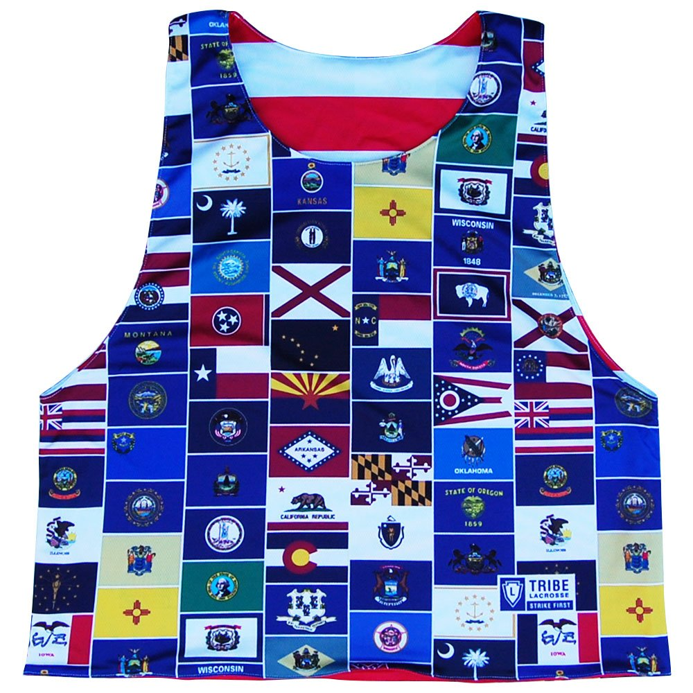 USA American State Flags Reversible Lacrosse Pinnie