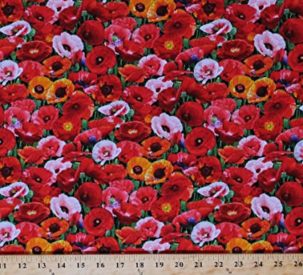 Amazon cotton poppies poppy field red orange pink flowers cotton poppies poppy field red orange pink flowers floral veterans memorial day cotton fabric print by mightylinksfo