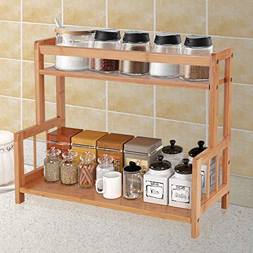 Ufine 2 Tier Bamboo Spice Rack Organizer Kitchen Countertop Storage Shelf Free Standing Holder Under Cabinet Bathroom for Various Bottles, Jars, Space Saving