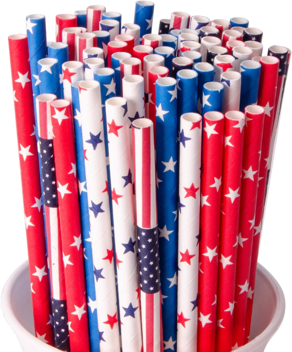 Wehhbtye 200PCS Independence Day Paper Straw - 4th of July Biodegradable Star Stripe Drinking Straw for Memorial Patriotic Day Party Celebration Supply(Red White Blue)