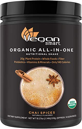 Vegansmart Plant Based Organic Protein Powder by Naturade, All-in-One Nutritional Shake – Chai Spices 14 Servings