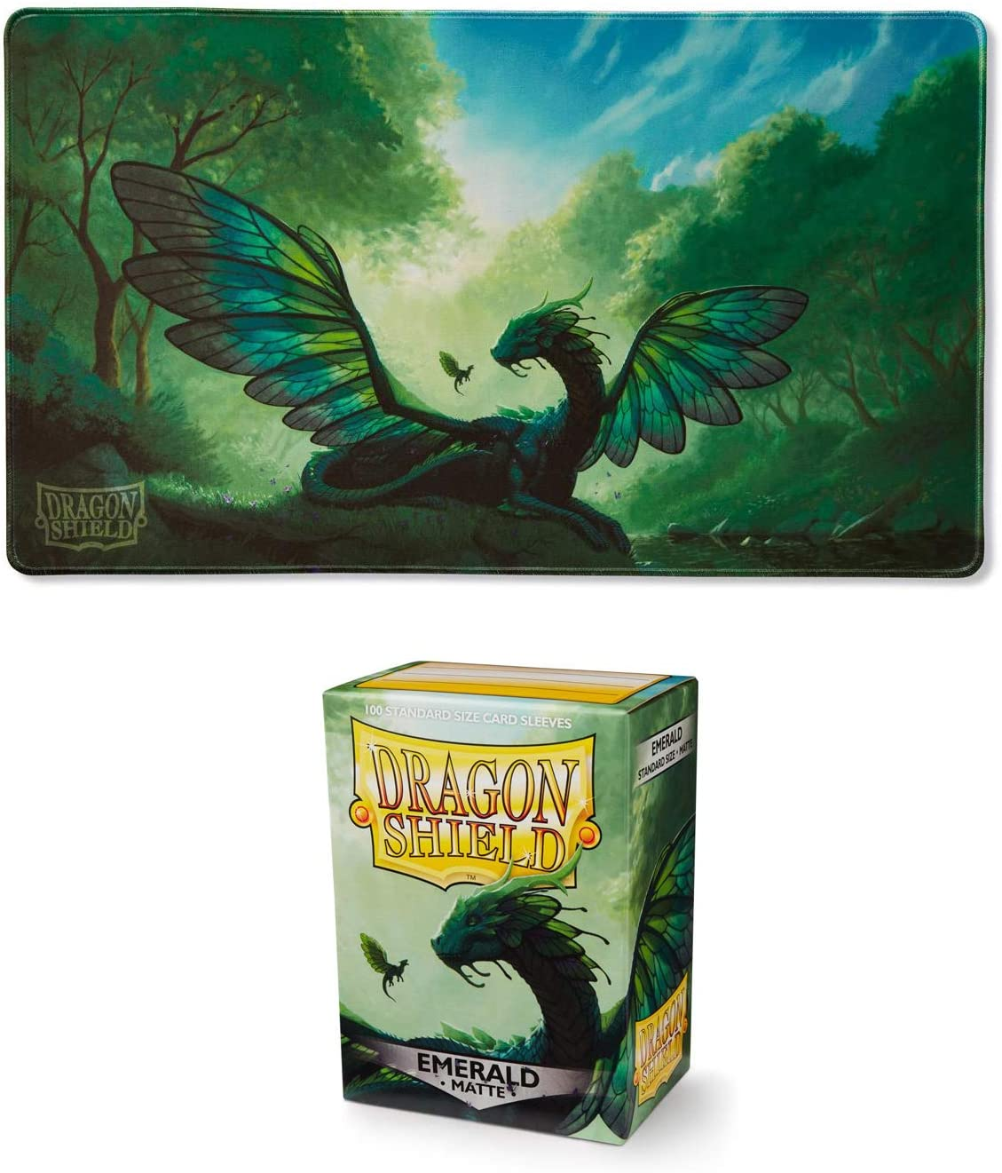 Matte Emerald 100 Count Standard Size Deck Protector Sleeves Emerald /'Rayalda/' Peace Personified Limited Edition Playmat Dragon Shield Bundle