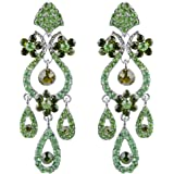 EVER FAITH Bridal Flower Vase Chandelier Dangle Earrings Austrian Crystal