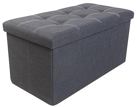 Premium Grey Linen Folding Ottoman Foot Rest Stool Seat Footrest Shoe Storage Organizer Versatile Space-Saving Bench – 30 15 15