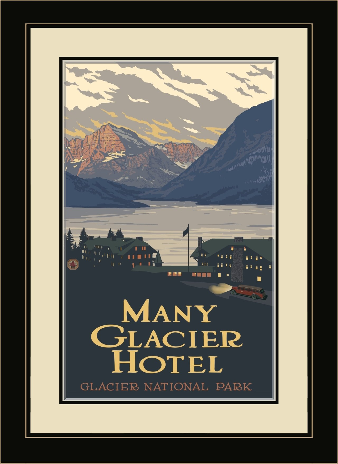 Northwest Art Mall National Park Many Glacier Hotel Framed Wall Art by Paul A. Lanquist, 13 by 16-Inch