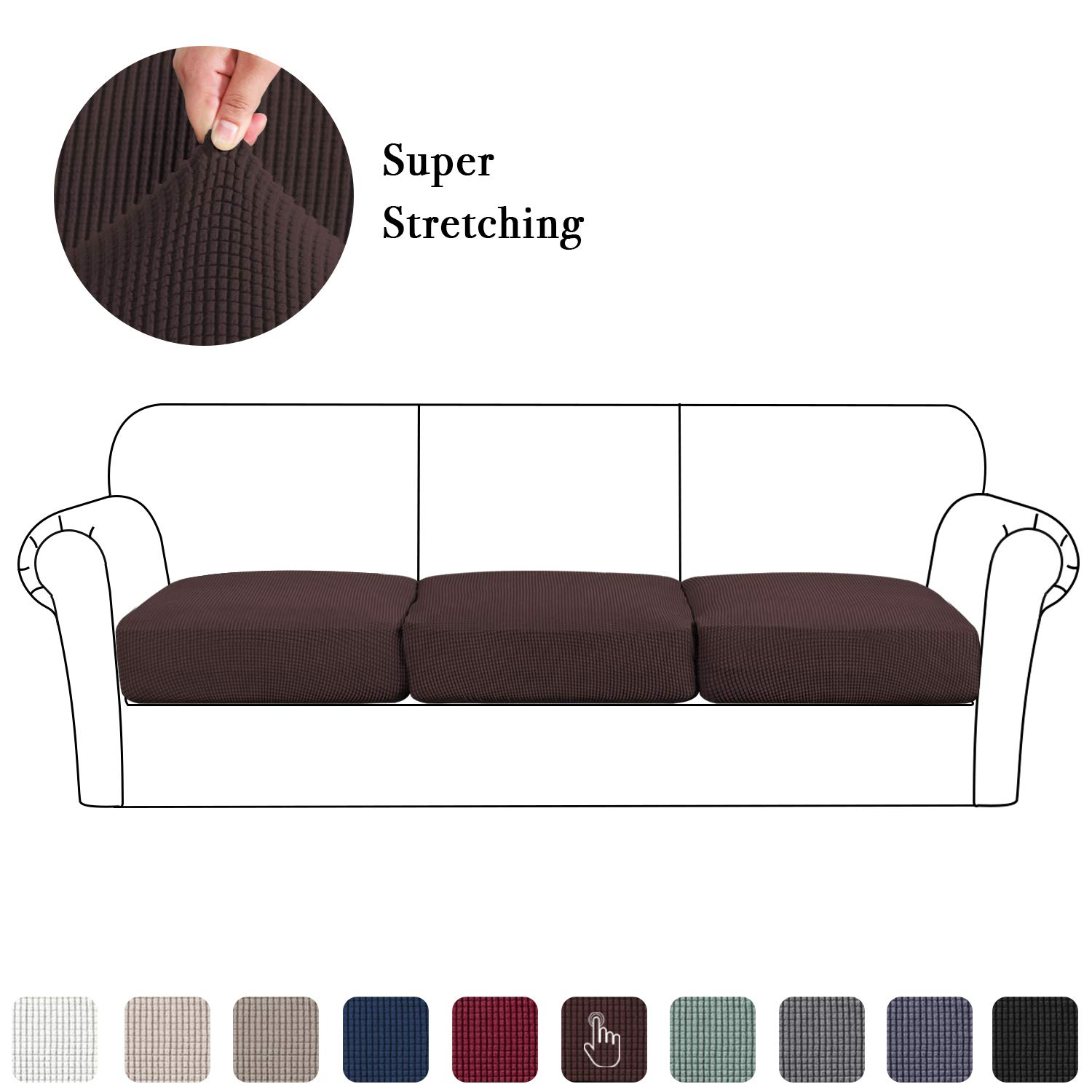 3 Pieces Sofa Seat Slipcovers, Couch Cushion Covers Stretch Spandex Non Skid Jacquard Fabric Furniture Protector Washable (3 Pieces Cushion Covers, Brown)