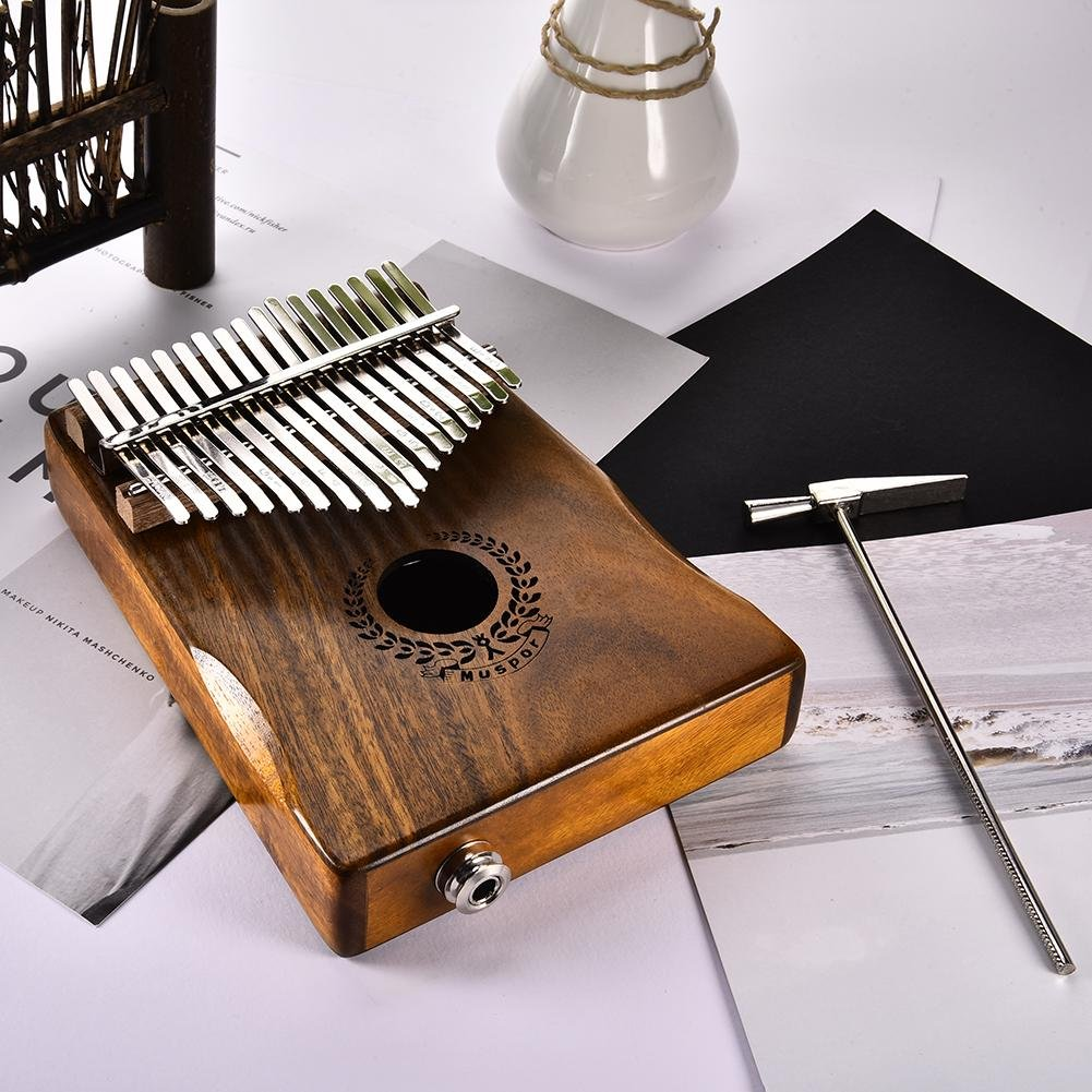 Samber Kalimba 17 Keys Thumb Piano Solid Finger Piano 17Key EQKalimbaSolidAcaciaThumbPianoLinkSpeakerElectricPickupwithBagCable with Tuning and Note Layout by Samber (Image #8)