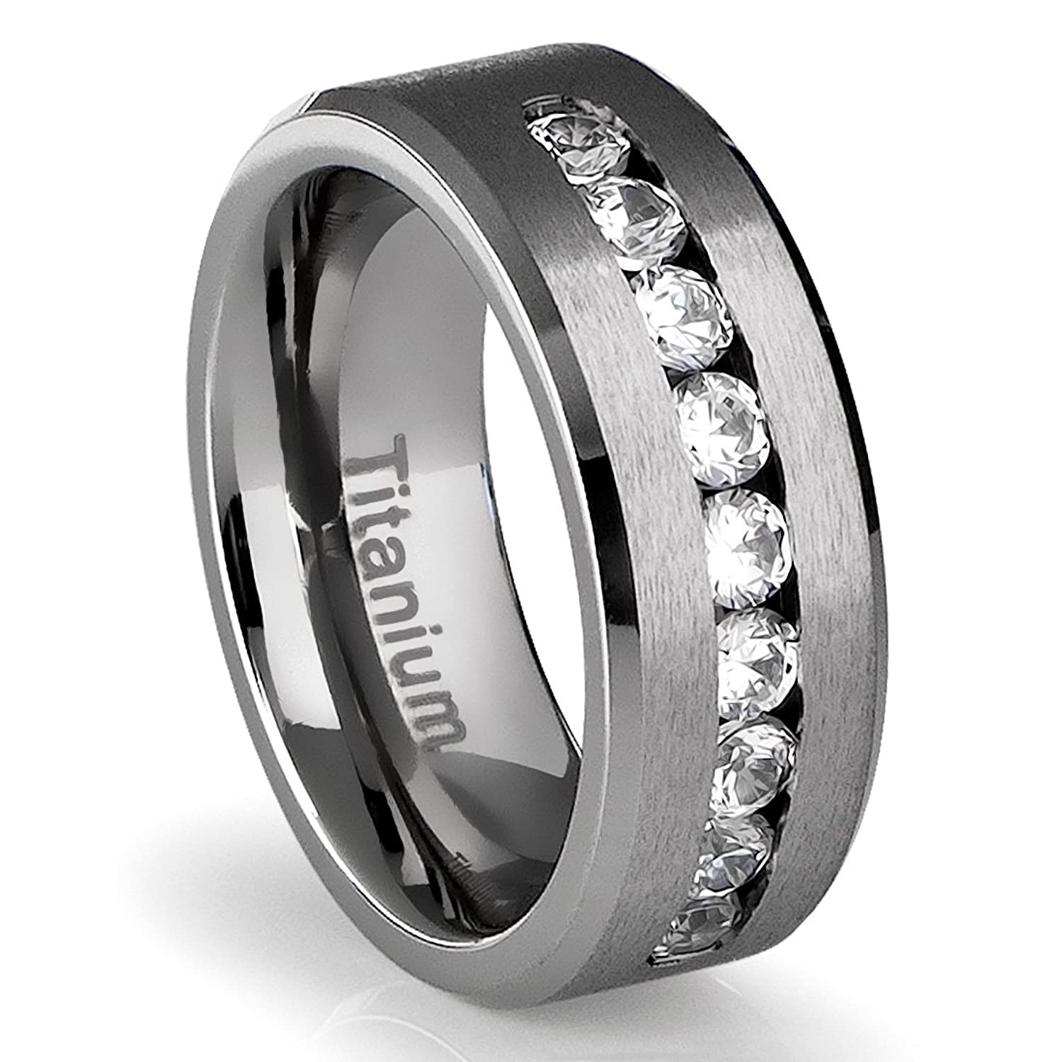 Amazon 8MM Men s Titanium Ring Wedding Band with Flat Brushed