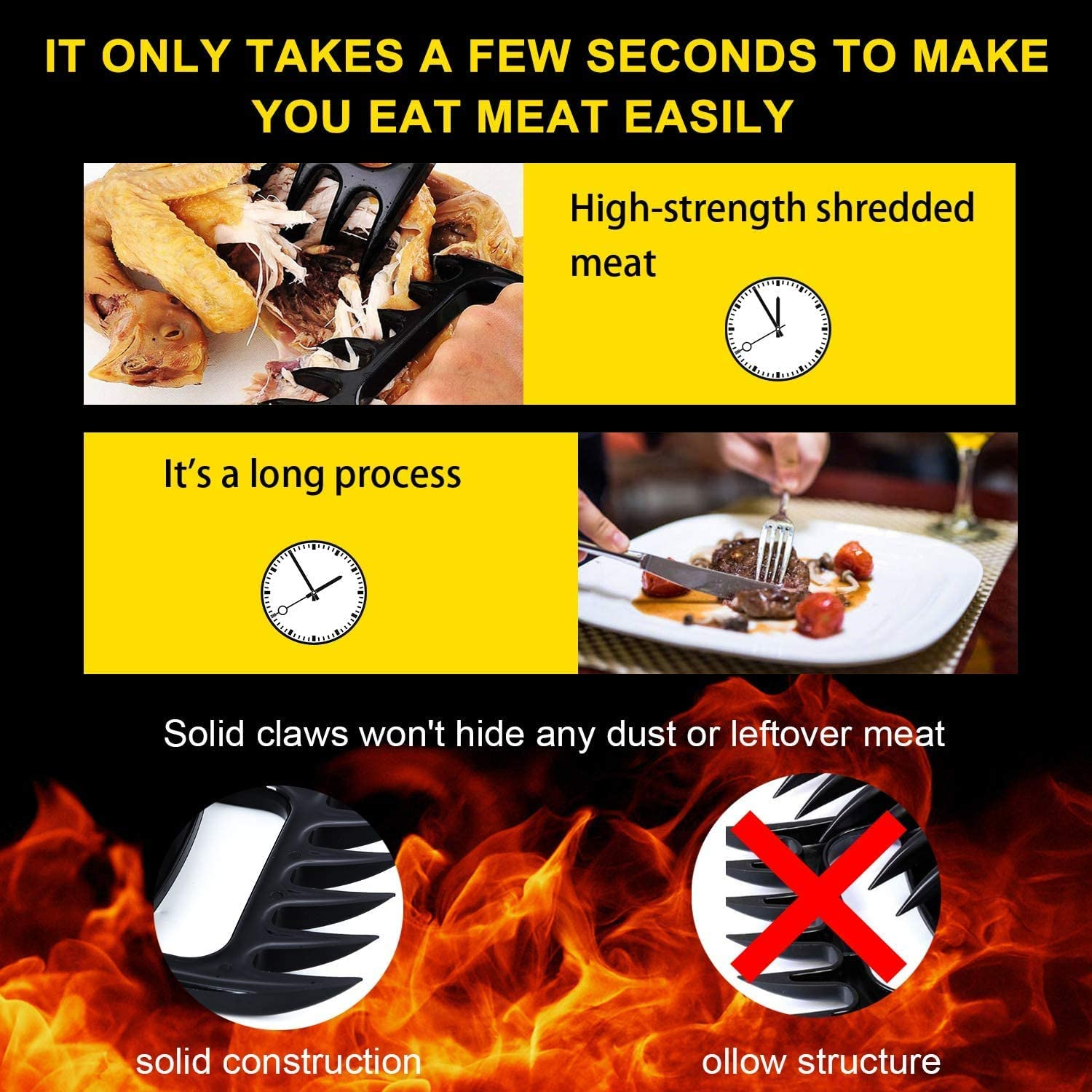 Millie Bear Paws Shredder Claws,Claws for Shredding Meat,Shred Lift /& Carve Food,Essential for BBQ Tools,Ultra-Sharp Barbecue Claws Pull 2 Pack//Black