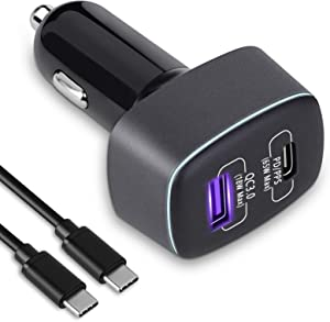 USB C Car Charger Adapter, BINZET 83W 2 Port Fast Car Charger with 65W Power Delivery & 18W Quick Charge 3.0 to Charge Phone, Tablets, Switch, Laptop