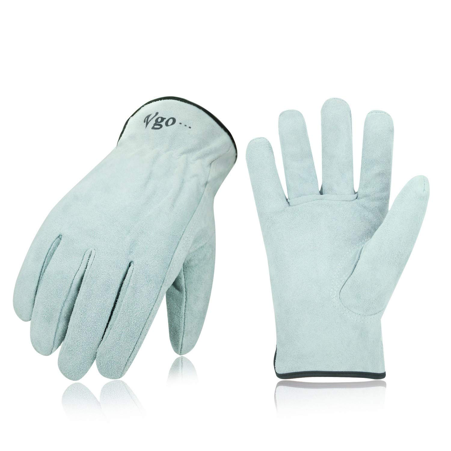 Vgo 3-Pairs Unlined Cowhide Split Leather Work and Driver Gloves, For Heavy Duty/Truck Driving/Warehouse/Gardening/Farm(Size L,Raw White,CB9501)