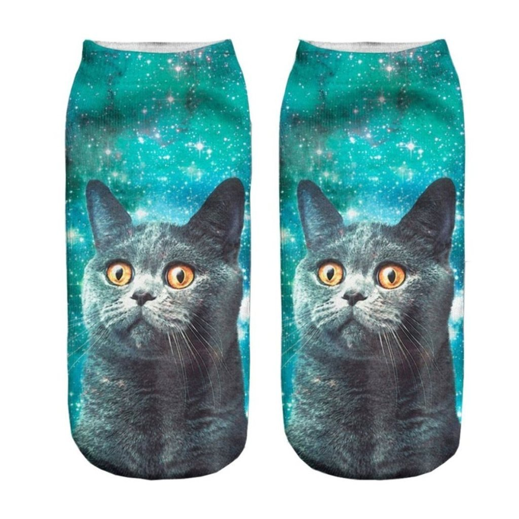 CHIC Funny Sock Gray Cat Cartoon Animal Print For Woman Man Boy Girl Free Size