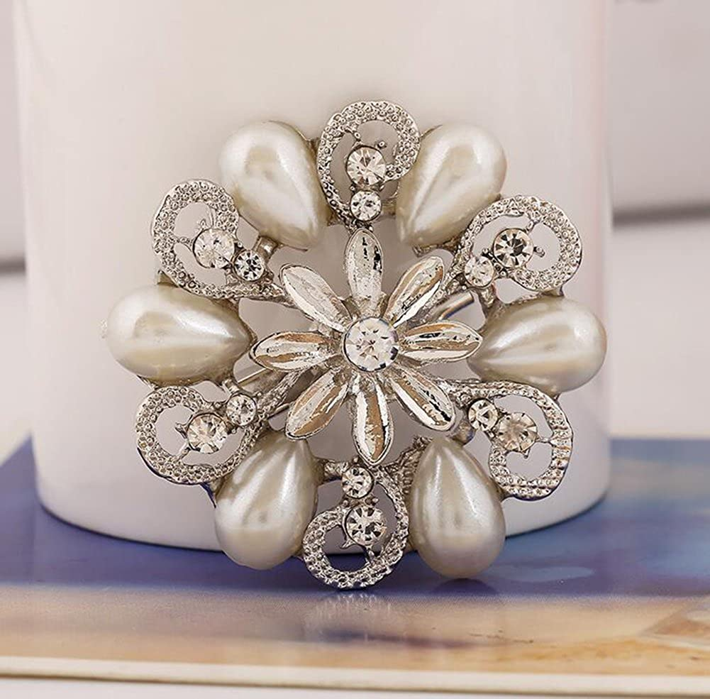 Xuxuou 1 Pcs Womens Stylish Elegant Hollow Diamond-studded Pearl Flower Brooch Banquet Party Wedding Bridal Brooch Scarves Shawl Clip For Ladies Jewelry Silver